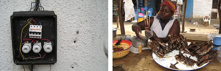 à gauche : Installation électrique au Congo à droite : Fast food au Congo © Cédric Kalonji