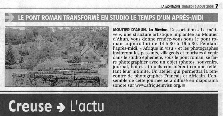 Article sur le studio photo paru dans La Montagne du samedi 9 Aout 2008