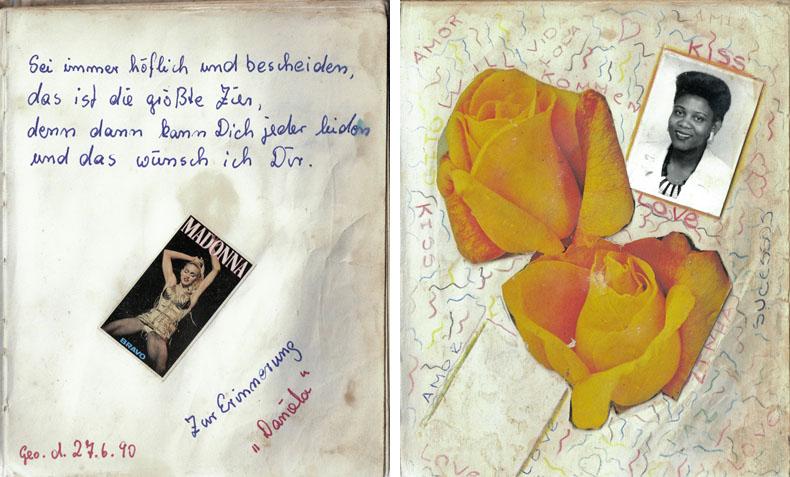 Un mot de Daniela, une amie de travail est allemande, adns le journal intime de Cristina. (à gauche) / Dans le journal intime que Cristina a tenu pendant son sejour en Allemagne de l'Est (à droite) © Joan Bardeletti