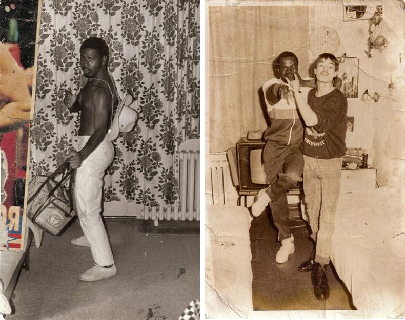 Lucio AMADE a 19 ans lorsqu'il pose dans sa chambre à Karl Marx Stadt où il travaille dans une usine de roulement à bille. (à gauche) / Lucio AMADE dans sa chambre à Karl Marx Stadt avec son pote Zeifet avec qui il travaillait à l'usine (à droite) © Joan Bardeletti