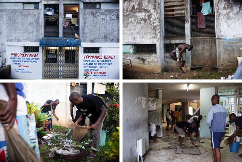 Opération propreté dans le Batiment 0 de la cité J.Mermoz © Camille Millerand