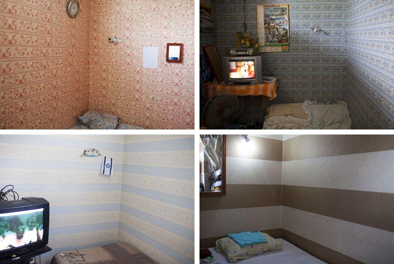 Chambres réalisées par Schékina Décor, tapissier universitaires.Cité J.Mermoz © Camille Millerand