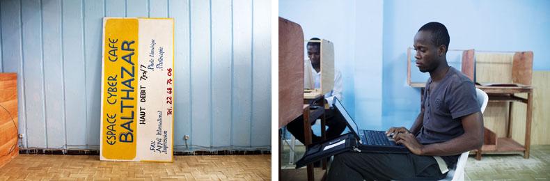 Emmanuel, à l'origine du Cyber café Batlhazar. Ancien Campus de cocody © Camille Millerand