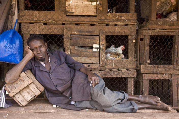Bacari Coulybali, vendeur de poulet marche de hall de Bamako © Fatoumata Diabaté