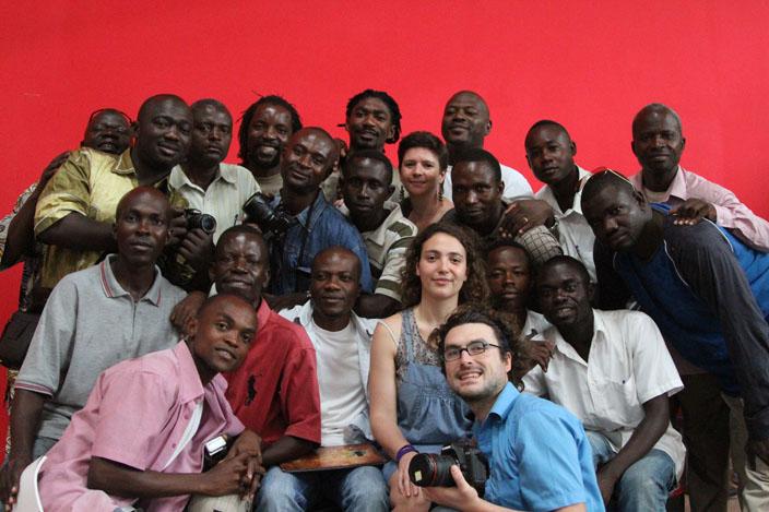 Premier jour de l'atelier à Brazzaville. Les participants et le collectif Génération Elili.