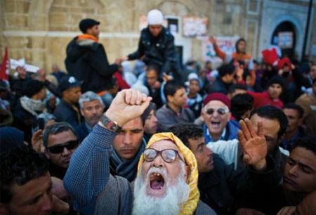 Révolution tunisienne. Tunis le 24 janvier. © Martin Bureau