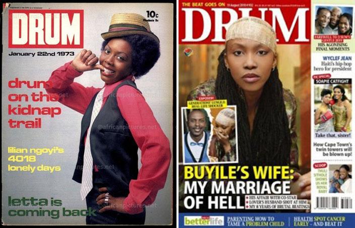 1973 – People! Drum s'approche des standards (G.)   2011 – Le marketing a fait son œuvre...  en couverture ! (D.)