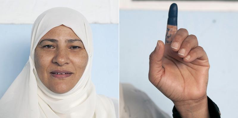 Neila. 43 ans «Je vote pour la première fois de ma vie. J'espère que l'on n'oubliera jamais cette période très triste passée sous l'aire BEN ALI.» © Augustin Le Gall