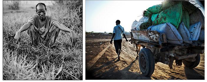 Photo noir et blanc de gauche  Mahmoud est originaire de Mogadisho en Somalie. Il a fui la guerre civile avec sa femme et ses 4 enfants. Il était pêcheur en Somalie sur les rives de l'Océan Indien, et maintenant il travaille sur les prairies avec Youssouf et d'autres réfugiés. Ils ont réussi à instaurer un système coopératif dans l'organisation du travail, et faire de ce terrain vague, une vaste prairie d'herbe grasse qu'ils revendent aux fermes d'élevages péri-urbaines et sur les principaux marchés de la capitale. © Emmanuel Martin