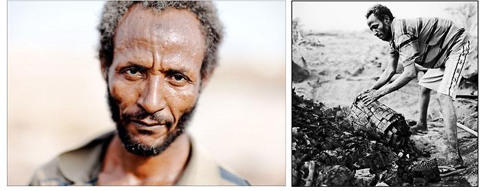 """Abdou, la quarantaine, est l'un des rares charbonniers de Djibouti. Il récupère le bois élagué de la capitale pour le transformer en charbon de bois qui servira de combustible à la cuisson des ménages ainsi qu'aux restaurants de quartiers populaires. Issu d'une famille de nomades afars, il éprouve une grande fierté à subvenir aux besoins de sa famille. il nous répète : """" Grâce à mon travail, mes enfants ne manquent de rien"""". © Emmanuel Martin"""