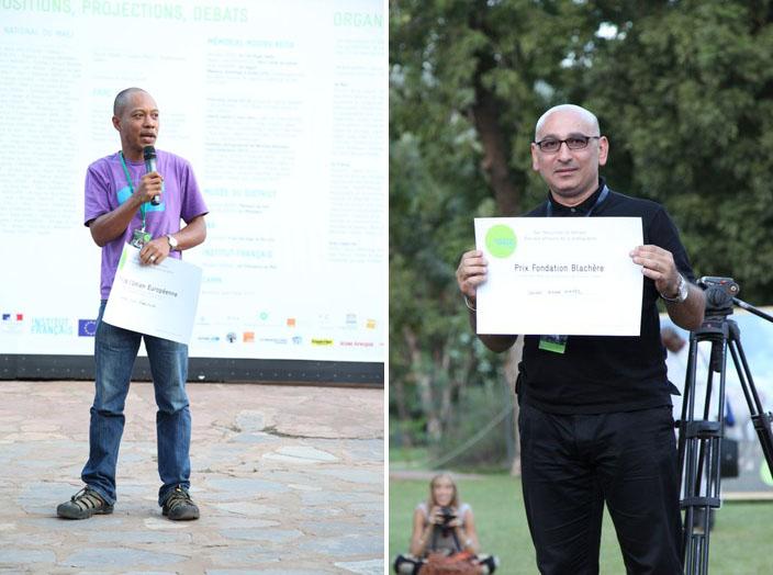 (à gauche) Remise du Prix de l'UE à Nyani Quarmyne (ex aequo) / (à droite) Remise du Prix de la fondation Blachère à Khaled Hafez © Sébastien Rieussec