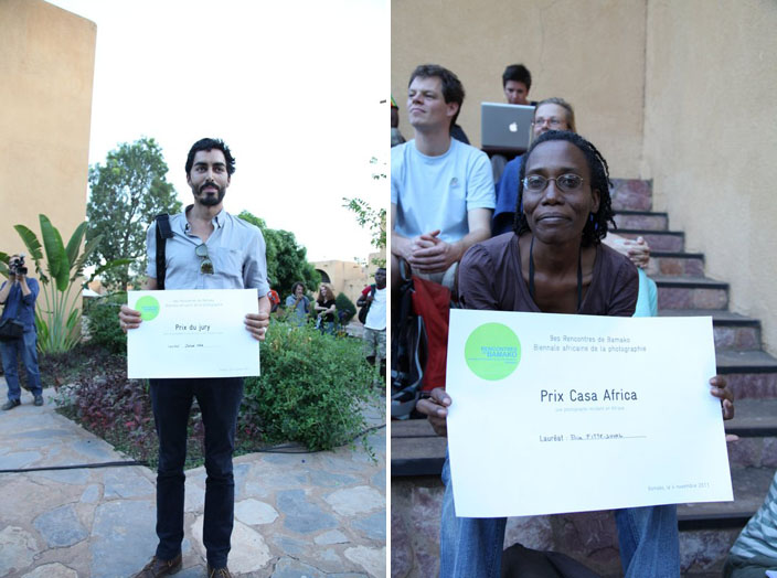 (à gauche) Remise du Prix du jury à Jehad Nga / (à droite) Remise du Prix Casa Africa à Elise Fitte-Duval © Sébastien Rieussec