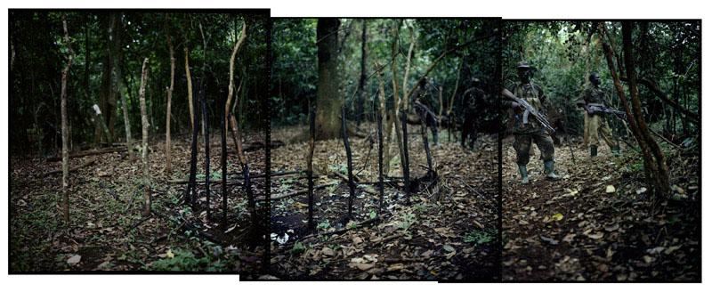 Près de grands potagers en pleine jungle, les UPDF ont découvert un campement important, préparé peut-être pour Joseph Kony, le chef de la LRA. Les huttes ont été brûlées, et les UPDF reviennent régulièrement chercher de nouvelles traces, RDC, 19 Mai 2011. © Benedicte Kurzen