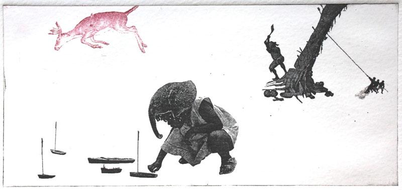 Cutting down the fetish tree - Estampe  17,2x8,2 cm, Encre noir sur papier ivoire, 2011 © Nathalie Mba Bikoro