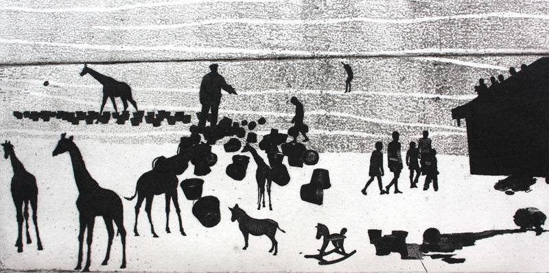 The Playground / Giraffes - Estampe 29x11 cm, Encre noir sur papier ivoire, 2011 © Nathalie Mba Bikoro