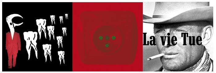 La vie tue  2007-2010, triptyque, collages, gravures sur plexiglas, 50 x 50 cm chacun. (Courtesy de l'artiste)