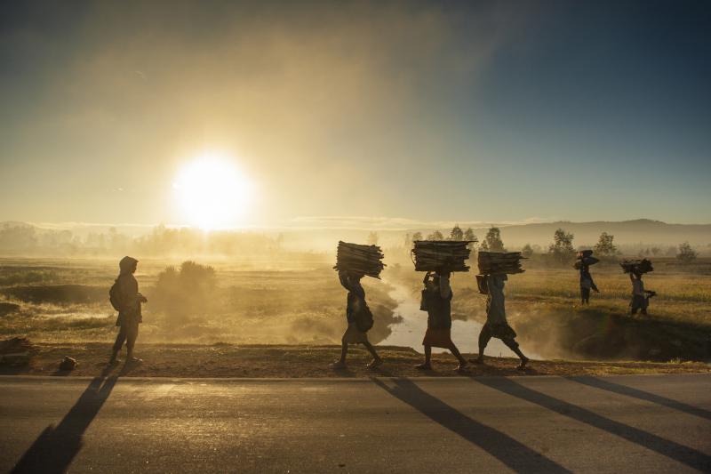 Le soleil se lève et éclaire le chemin de ces femmes traversant les rizières et longeant la RN7 avec du bois de chauffe. © Rindra Ramasomanana